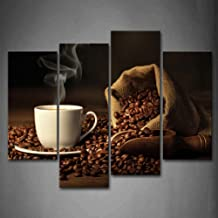 First Wall Art - Brown A Cup Of Coffee And Coffee Bean. Wall Art Painting The Picture Print On Canvas Food Pictures For Ho...