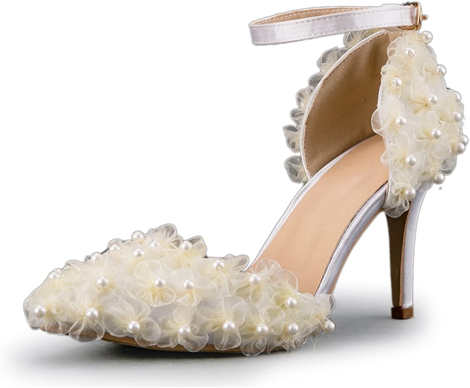 Minishion Women's Gauze Flowers Elegant Ankle Strap Bridal Wedding shoes