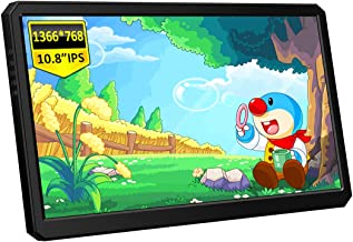 Corkea 10.8 Inch 1366x768 Portable Gaming Monitor with HDMI/USB C/Speakers with Rear Adjustable StandCompatible with Lapt...