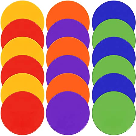 Set of 12 Flat Rubber Disc Spot Markers Cones 8 Diameter with Carry Bag