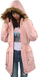 4THSEASON Women Thickened Winter Coat with Hood Faux Fur Lined Long Coats Parkas