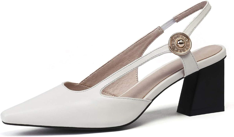 Nine Seven Women's Genuine Leather Square Toe Mid Chunky Heel Handmade Comfortable Office Work Slingback Pumps