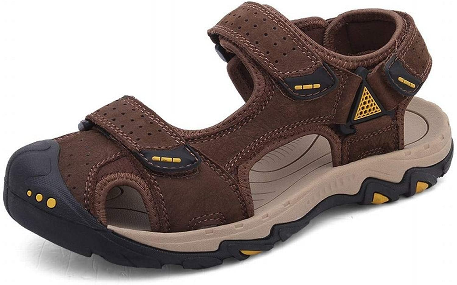 Men's Leather Wear-Resistant Beach shoes Breathable Casual Outdoor River shoes Summer Leather Sandals (color   Brown, Size   46)