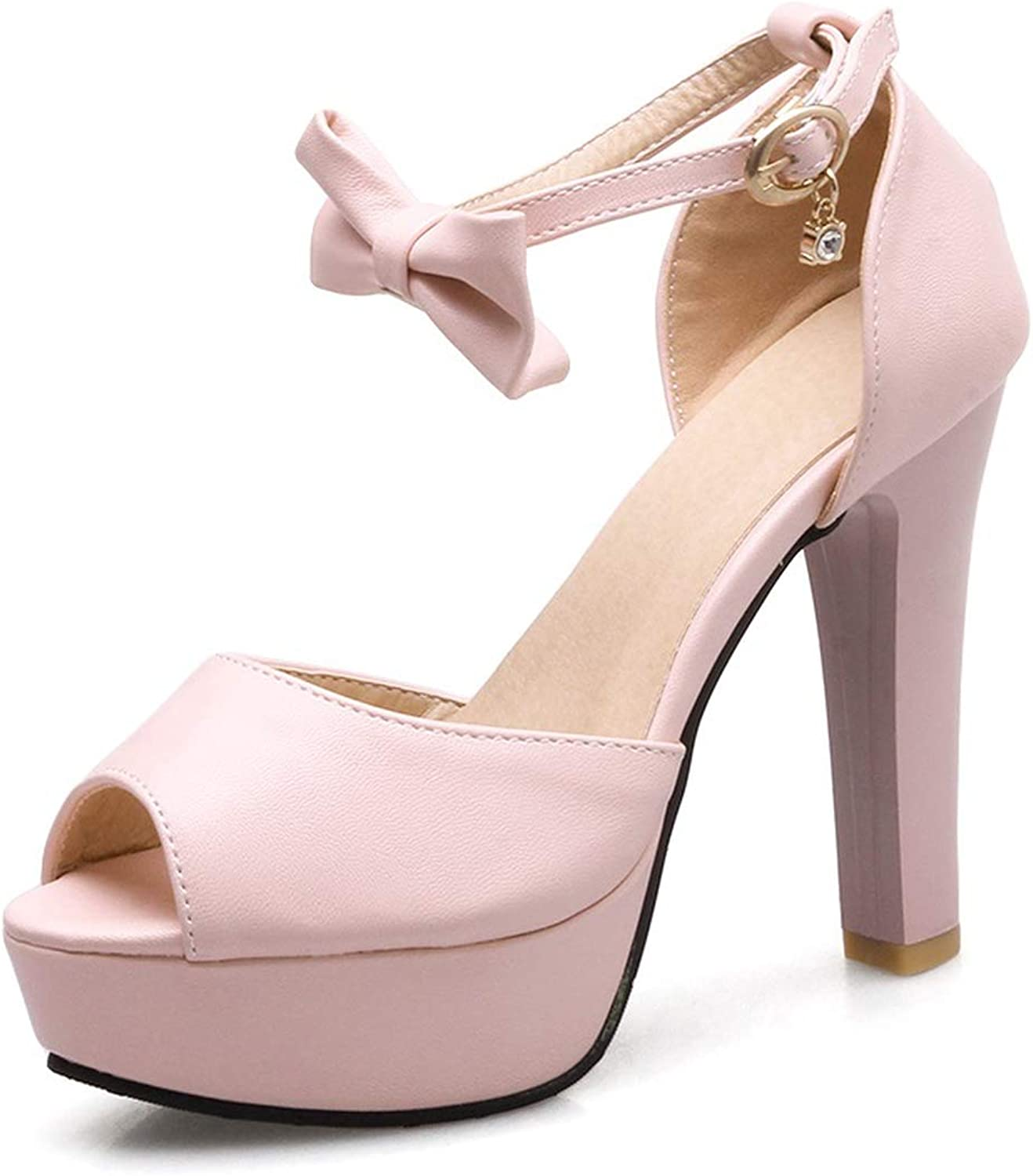 Summer Sweet Butterfly Women Sandals Thick high Heels Platform Solid color Party shoes