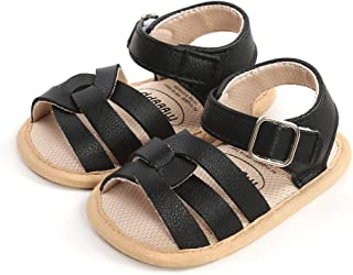 Infant Toddler Flat Sandals Fashion Summer Rubber Sole Non-Slip Premium PU Leather Baby Walking Shoes, Black 6-12 Months