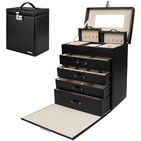 Homde Jewelry Box Girls Fully Locking Organizer for Necklace Earrings Ring Great Gift Choice