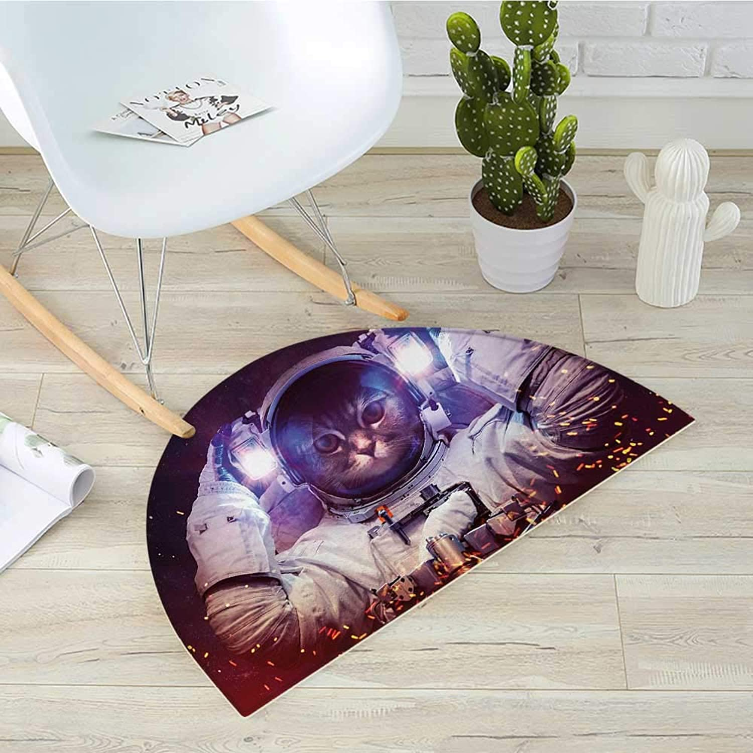 Space Cat Half Round Door mats Astronaut Cat in Suit Outer Space Nebula Galaxy Cosmos Fire Image Bathroom Mat H 39.3  xD 59  Purple Dark bluee and White