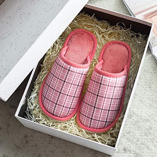lanying Zapatillas Casa Hombre Zapatillas Mujer otoño e Invierno Uso doméstico, Zapatos cálidos y cómodos engrosados para Interiores Zapatos para el hogar de Hombres y Mujeres-Rojo_40/41