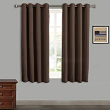Rose Home Fashion Blackout Curtains Thermal Insulated Room Darknening Draperies 63 Inch Blackout Window Curtain Panels, 2 Pieces Blackout Curtains for Bedroom/Living Room, W52 x L63, Chocolate