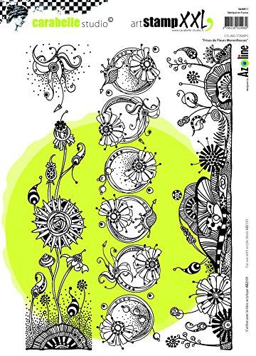 Carabelle Studio Cling Stempel XXL-Wonderful Flowers Frieze, Rubber, White transparent, 19 x 27.5 x 0.5 cm