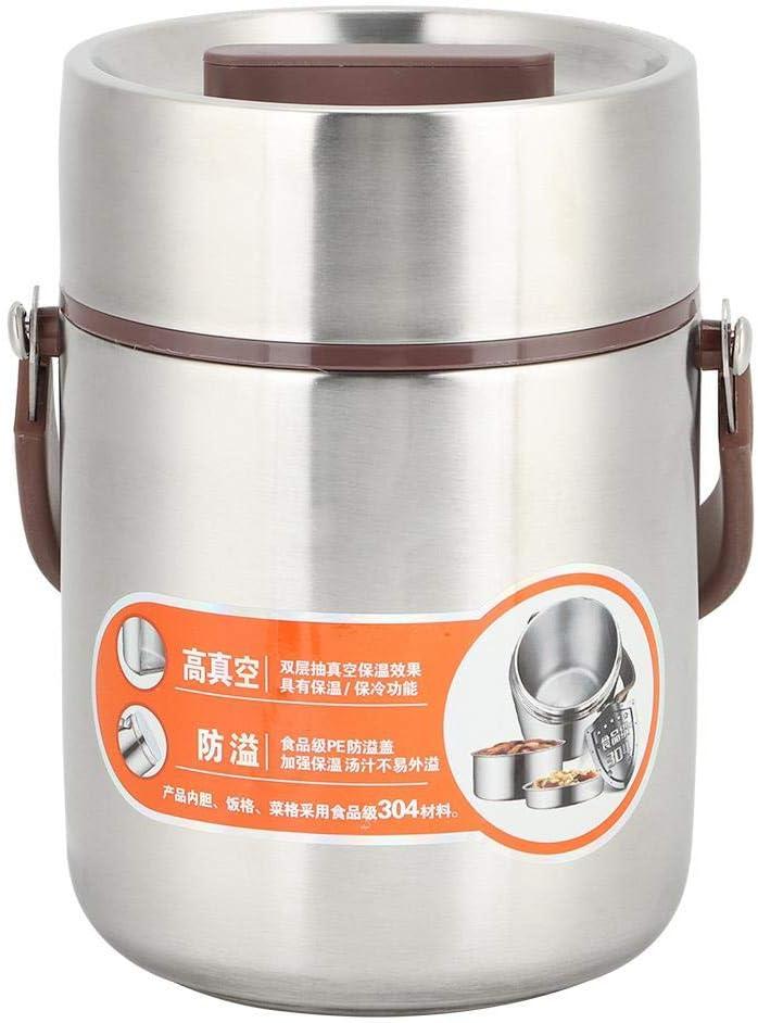 Fiambrera térmica de gran capacidad de acero inoxidable de grado alimenticio a prueba de fugas Fiambrera térmica para comida caliente Bento Box para estudiantes y trabajadores de oficina(1.6L)