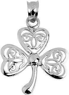 925 Sterling Silver Irish Celtic Three Leaf Clover Good Luck Charm