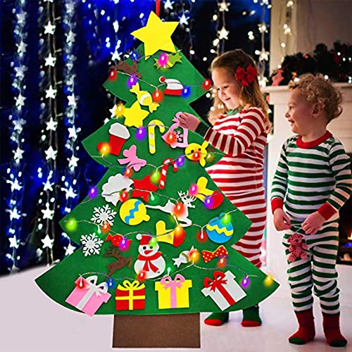 iGeeKid 4 FT LED Felt Christmas Tree for Toddler Kids DIY Christmas Tree Snowman with 30 Ornaments 10ft Multi-Colored String Light Christmas Wall Hanging Decor Xmas New Year Gift for Toddlers
