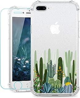 Ruky Clear Flower Case for iPhone 8 Plus/7 Plus, Glitter Floral Flower Pattern Design Slim Soft TPU Shockproof Girls Girly Phone Case for iPhone 7 Plus/iPhone 8 Plus, Cactus