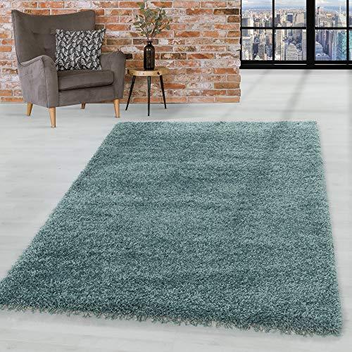 HomebyHome Hochflor Shaggy Teppich Wohnzimmerteppich Schlafzimmer Flor Super Soft Aqua, Farbe:Aqua, Grösse:120x170 cm
