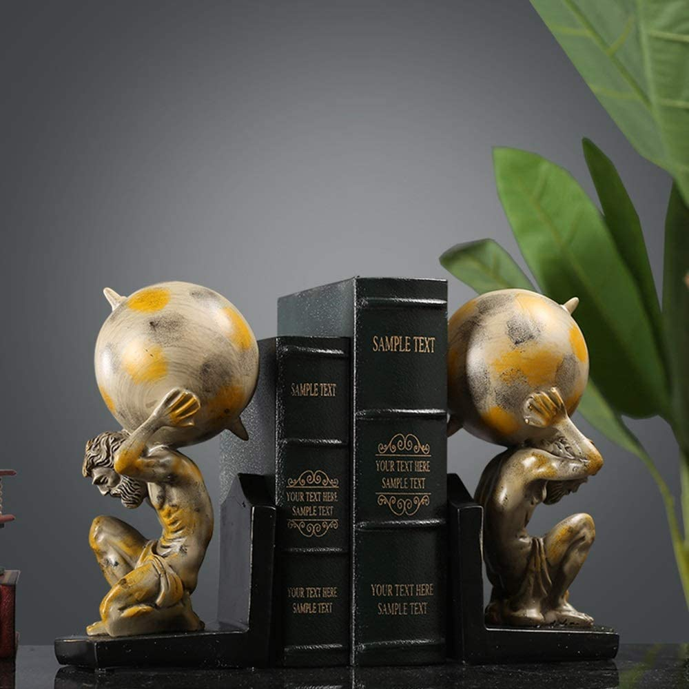JF-XUAN Bookends American Ranking TOP13 Retro Luxury Style Resin Bookend Hercules Mag