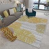 Alfombra de Pelo Alfombra Amarilla, patrón de Hojas, Transpirable, fácil de Extender, insonorizada y antiestática alfombras persas -Amarillo_120 x 180