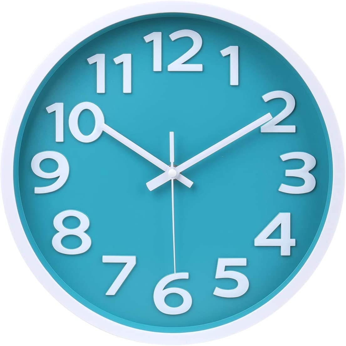 Wall Clock - 12 Inch 3D Numbers Easy to Read Round Wall Clock Silent Non-Ticking Battery Operated Teal Color Decor Clock for Living Room / Office / Bedroom