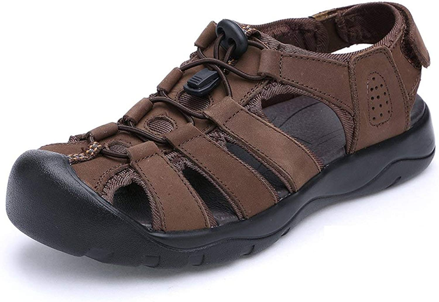 Hhgold Mens Comfortable and Non-Slip Leather Sandals Summer Fashion Closed-Toe Beach shoes (color   Brown, Size   6 UK)