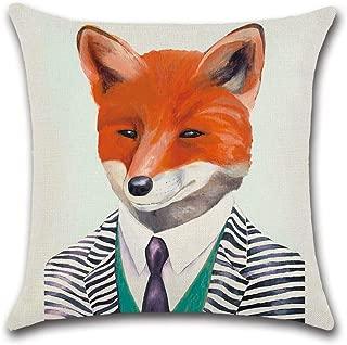 Ezyforu Throw Pillow Covers Mr Fox Cartoon Cotton Linen Burlap Pillowcases Home Decor Square Cushion Covers Cases, 18