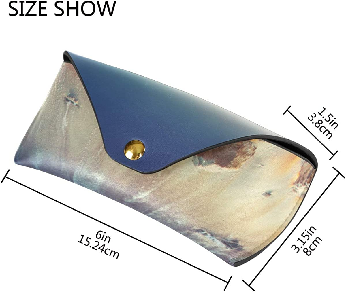 Sunglasses Case Eyeglasses Pouch Sunning Ocean Waves Sunrise Wallet PU Leather Goggles Bag Multiuse Portable