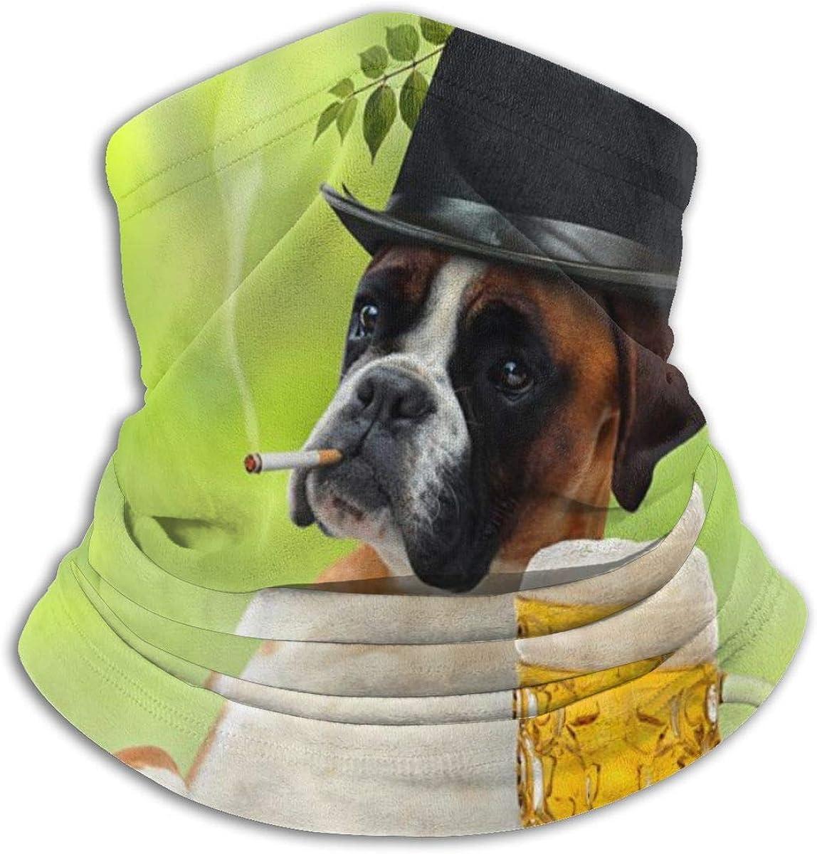 CLERO& Scarf Fleece Neck Warmer Smoking Dog Drink Beer Green Windproof Winter Neck Gaiter Cold Weather Face Mask for Men Women
