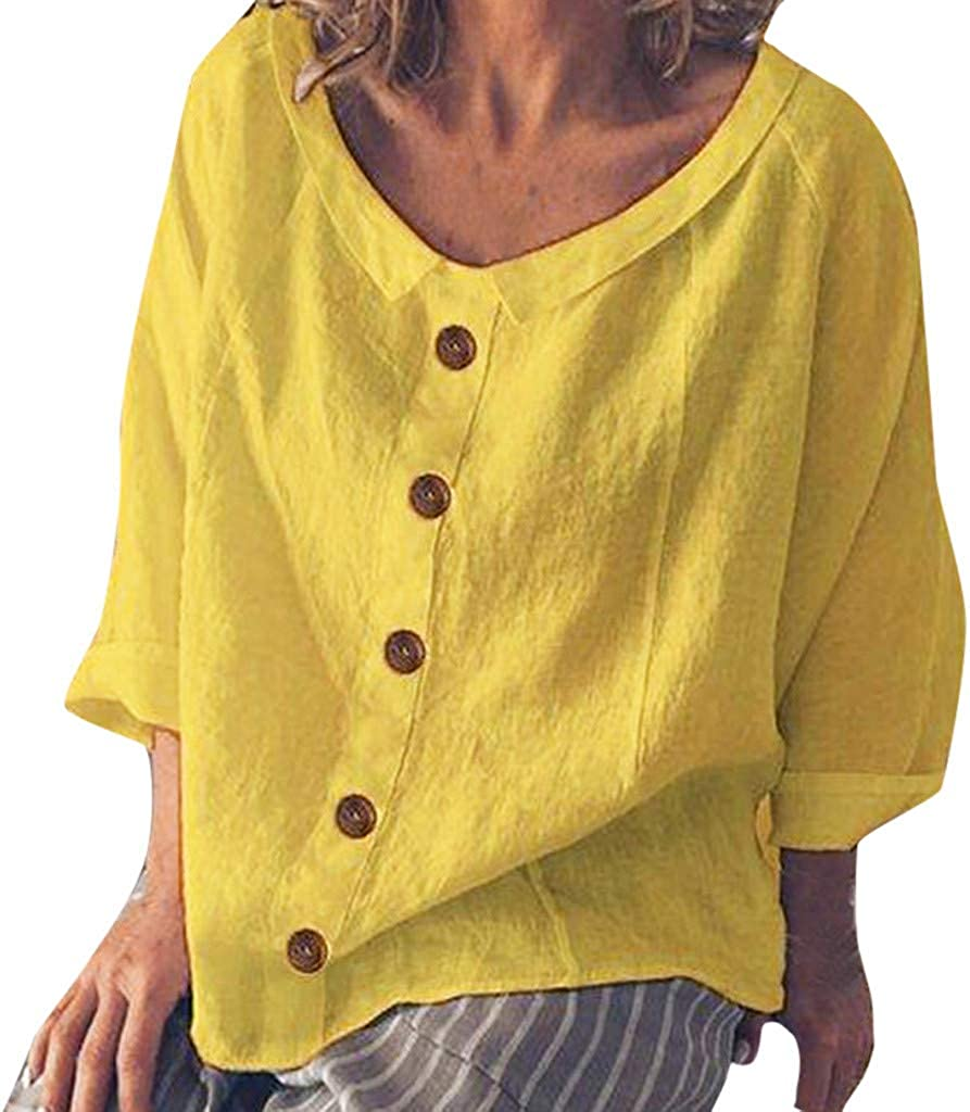 Camiseta de Mujer, Verano Moda Color sólido Manga Corta ...