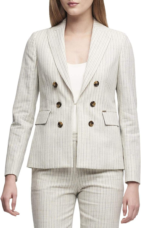 DKNY Womens DoubleBreasted Striped Blazer