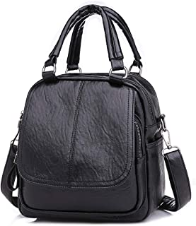 Qyoubi Womens Soft Leather Small Fashion Backpack Purse Waterproof Satchels College Student Convertible Multipurpose Bag