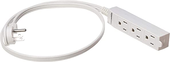 AmazonBasics Indoor 3 Prong Extension Power Cord Strip - Flat Plug, Grounded, 3 Foot, Pack of 2, White