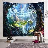 Zodight Wandteppich Psychedelic, Wandbehang Wandtuch Traumwaldhaus Tapestry Wall Hanging, Wandteppich Wald Multicolored Wanddeko für Schlafzimmer Wohnzimmer Wohnheim