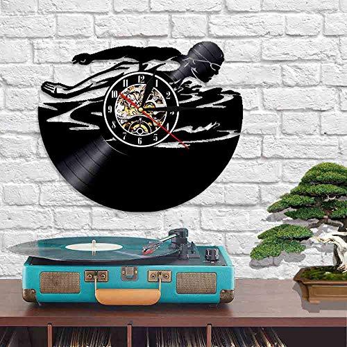 QIANGTOU Natación Deporte Reloj de Pared Silencioso Disco de Vinilo Nadador Natación Reloj clásico 3D Piscina de Agua Abierta Reloj de Colores múltiples