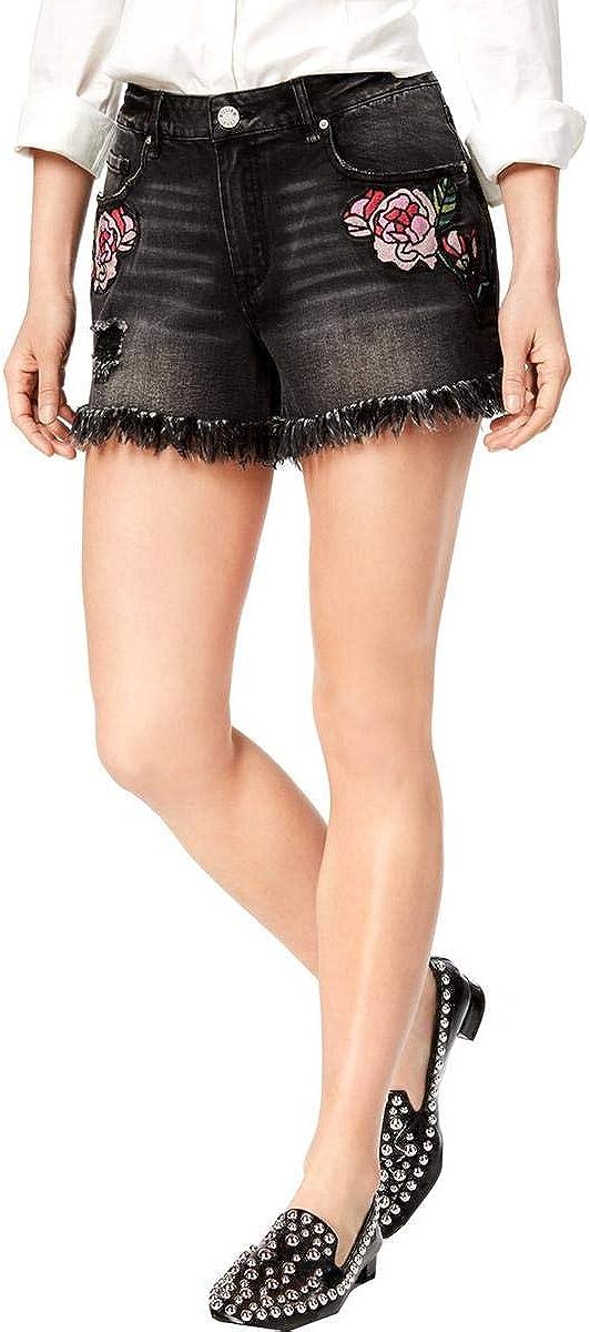 Gloria Vanderbilt Women's Perfect Denim Shorts, Charcoal Muse Floral Patches, 30