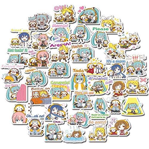 40Pcs/New Hatsune Miku Cartoon Waterproof DIY Decals Sticker for Fridge Suitcase Stationery Developer Decor