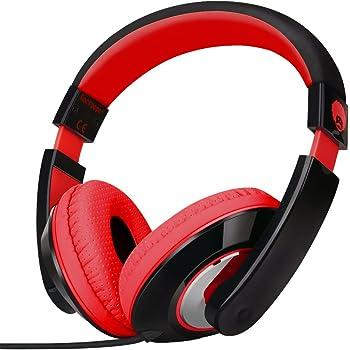Rockpapa On Ear Stereo Headphones Earphones for Adults Kids Childs Teens, Adjustable, Heavy Deep Bass for iPhone iPod iPad MacBook Surface MP3 DVD Smartphones Laptop (Black/Red)