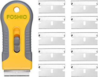 FOSHIO Plastic Retractable Razor Blade Scraper for Glass Adhesive Removing with 10pcs Extra Spare Blades, Professional Window Tint Vinyl Wrapping Tools
