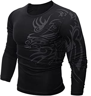 c8be1e144091 Realdo Mens Modal Slim Long-Sleeved Print Solid Plain Top T-Shirt Clearance