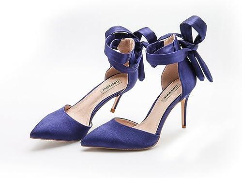 Chaussures de mariage à talons hauts en satin de soie bleu été 8cm, sandales sauvages en-tête vide, femmes nues fines avec des talons hauts pointus ( Couleur   Bleu , taille   39 )