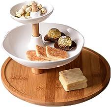 XINHU Eenvoudige drie-laags keramische fruitplaat Snack plaat gedroogd fruit plaat middag thee plaat taart plaat