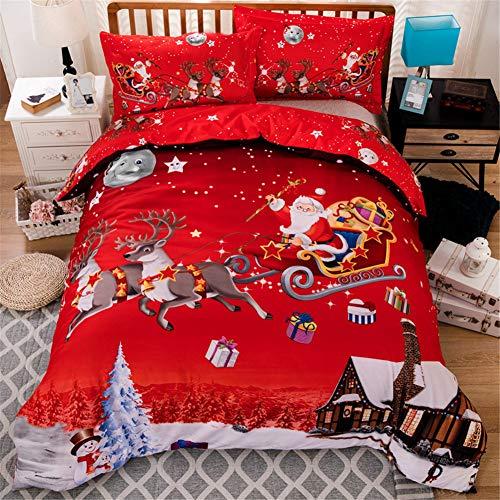 Christmas Bedding Duvet Cover 3 Piece Set Santa Claus Deer Pattern HD...