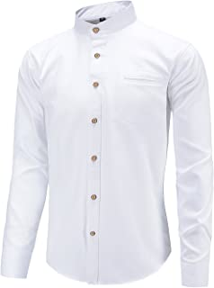 Dioufond Men's Long Sleeve Banded Collar Oxford Dress Shirt Pocket
