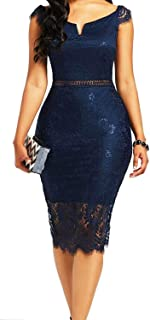 Navy blue dress with beautiful lace with cilia on the chest and back pencil dress knee length with long sleeves