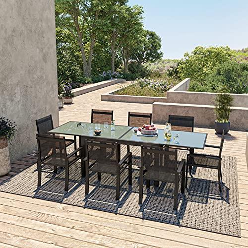 Avril Paris Table de Jardin Extensible Aluminium 140/280cm + 8 fauteuils textilène Noir - Hara XL