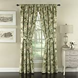 Waverly Garden Glory Rod Pocket Curtains for Living Room, Double Panel, 84x100, Mist