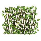 MSUIINT Erweiterbarer Gitterzaun mit grünem Blatt, erweiterbarer Gartengitter Dehnbarer...
