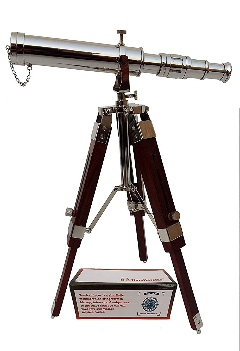 US HANDICRAFTS Vintage Brass Nickle Telescope on Tripod Stand/Chrome Desktop Telescope for Home Decor & Table Accessory Nautical Spyglass Telescope for Navy and Outdoor Adventures.