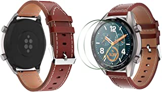 Compatible with Huawei Watch GT/GT2 Leather Watch Band and Screen Protectors, SourceTon Leather Replacement Wristbands (Br...