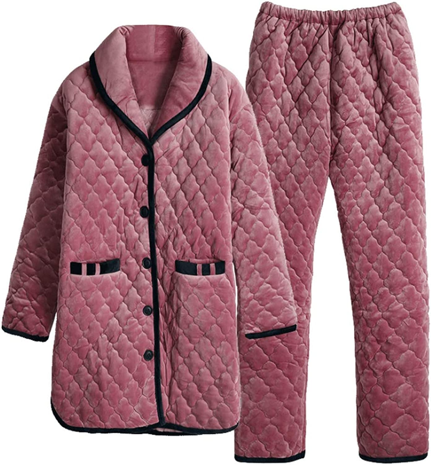 Pajamas Ladies Tracksuit Suit Tops and Pants Winter Thicken Keep Warm Three Floors Quilted Medium and Long Section,XL