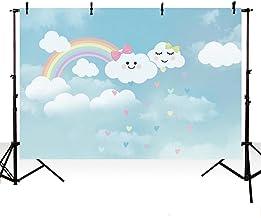 MEHOFOTO - Fondo de fotos con dibujos animados para recién nacido, diseño de nube blanca con arco iris, para decoración de fiestas de cumpleaños, para fotografía, 1,8 x 1,5 m