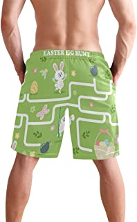 Easter Pattern Egg Bunny Rabbit Rainbow Yellow Swim Trunks Quick Dry Casual Polyester Shorts